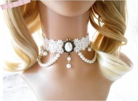 romatic wedding jewelry white lace with pearl pendant necklace collar fashion girls chokers necklaces new handmade 2013 jewelry