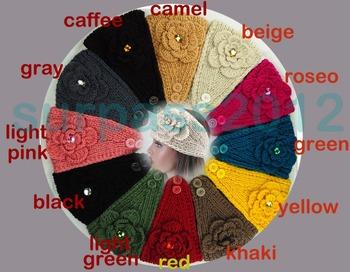 FREE SHIPPING 3 Pcs Big Size Flower Crysta Women Knit Headband Crochet Headwrap
