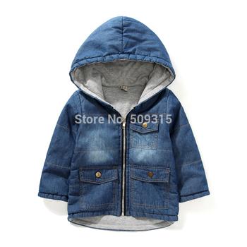 2014 Spring/Autumn boys clothing denim thickening outerwear children garment denim coat kids cotton-padded jackets free shipping