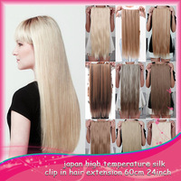 "666 Fashion 24"" Long  Clip In On Hair Extensions  Synthetic Hairpiece 30 Colors 20Pcs/lot High Quality Free Shipping by DHL"