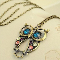 Min.order is $15 (mix order)~ Fashion lovely vintage Colorful Cute OWL necklace !Freeshipping~XL-007
