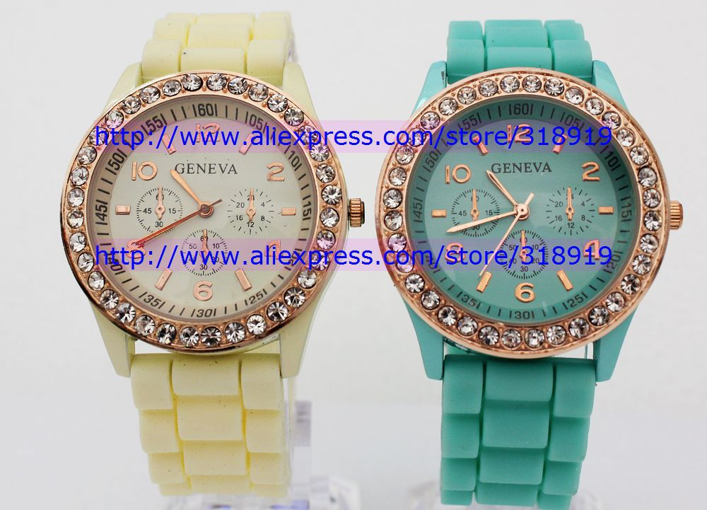 fast shipping 2013 -- rose diamond stone Geneva watch candy jelly silicone with numbers face Unisex Quartz watches 200pcs/lot(China (Mainland))