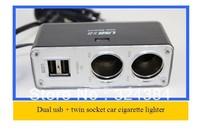 Twin socket 2 USB Charger 12V/24V output Car Cigarette Lighter