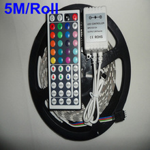 Holiday sale Free Shipping 5M/Roll 3528 SMD waterproof 60 LEDs/M Warm white / White/ RGB Flexible LED Strip, RGB with 44 keys(China (Mainland))