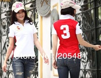 Free shipping  women's short sleeve  tshirt  (embroidery brand  logo) casual shirt 6 colours S,M,L,XL  5%spandex