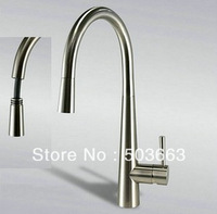 Brand New Nickel Brushed Deck Mount Single Hole Pull Out & Swivel Kitchen Sink Faucet Vessel Mixer Basin Tap L-0121