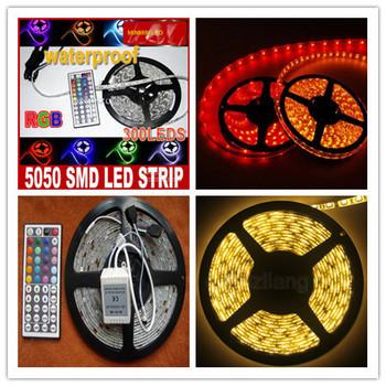 Superbright 5M Flexible RGB LED Light Strip 16ft 5050 SMD 500cm 300 LEDs 60leds/Meter Waterproof +44 Key IR remote Controller