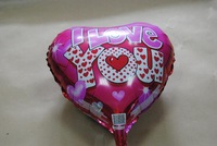 "PT0032 I LOVE YOU Heart Shaped Mylar (Foil) Balloon Love Party Favor, 18"" Inch, 10pcs/lot, free shipping"