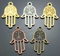 20pcs/lot 4 Colors 24*15mm Hamsa Hand Charms, Kabbalah Charms, Jewish jewelry