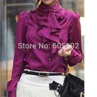 Free Shipping New Women Elegant Waterfall Ruffle Front High Detail Neck Shirt Top Blouse New WS17