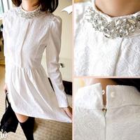 2013 sale empire denim shipping new plus size collar rhinestone slim lace long-sleeve dresses women's fashion elegant dress xs-l