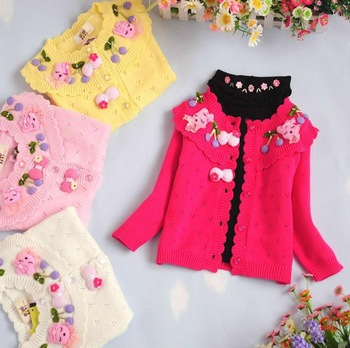 Retail, 1pc Children's clothing child girl spring autumn coat baby sweater 100% cotton sweater gowns, girl's cardigan