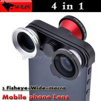 Fish eye lens+Macro+Wide Angle lens+Front 180 Fisheye 4 in 1 lens camera for iPhone 5s 5,5pcs/lot detachable mobile phone lens