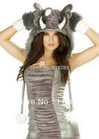 ML5072 Grey Elephant Dress Costume 4 Piece Elephant Costume Set Sexy halloween costumes(Dress, hood, legwarmers and gloves)