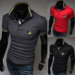 Free Shipping New Men&#39;s Polo T-Shirts,Embroidery design T-shirts,Casual Slim Fit Stylish Shirt Color:Black,Gray,Red Size:M-XXL(China (Mainland))