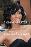 Stylish Casual Medium length wavy Hair Wig  Black curly wigs Free Shipping
