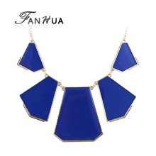 2014 New Spring Fashion Design Colorful Enamel Alloy Chain Geometric Statement Necklace for(China (Mainland))