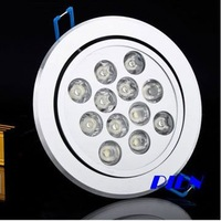 Dropshipping 12W LED Ceiling Light Down light Lamp Recessed Lights Cool |Warm White 85V-265V Free Shipping 1pcs/lot