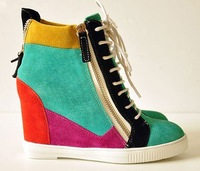 fashion high top Italian women shoes Popular wedge sneakers