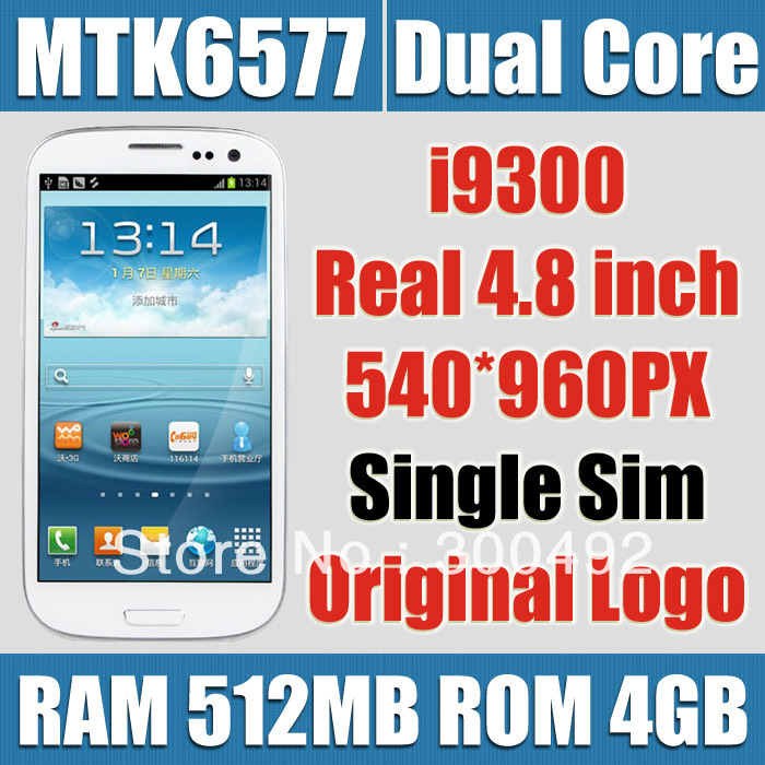 Copy 1:1 Micro Sim 3G WCDMA GT-i9300 Original AMOLED 4.8 inch 540*960 Pixels 1.4Ghz Dual Core Android Phone(China (Mainland))