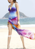 Free Shipping New Fashion Sexy Chiffon Swimsuit Pareo Beach Cover up Sheer Sarong Scarf Y01