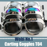 2013 Hot Selling Motorbike Goggles Steampunk Carting Sunglasses Smoke Lens Scooter Aviator Pilot Cheap Wholesale Droppost