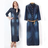 2014 autumn and winter women fashion slim waist long design rivet denim one-piece dress Long sleeve belt women's female JS0258