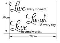 20pcs  wholesale Live Laugh Love Wall Art Sayings 50*70cm DIY Removable Wall Art Home 3D Wall Sticker