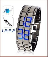 Freeshipping The supply of cool lava LED watch men's fashion table male couple table LED metal sheet