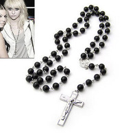 [Mix 15USD] Fashion women or Mens Beckham Superstar Cross Black Rosary Beads Necklace chain
