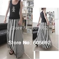 2014DR18 Free Shipping New Fashion Elegant Women Chiffon Black Navy Vertical Stripe Elastic Waist Long Skirt