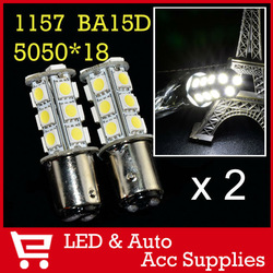 2 x 18 SMD LED 5050 1157 BA15D P21/4W Back up Reverse Turn Signal Brake Daytime Lights DRL Light BULB Lamp Xenon White 12V CD024(China (Mainland))