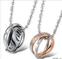 Love Letter Bicyclic Titanium Steel Couples Necklace 1 pair