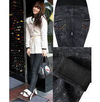 2012 new autumn winter warm adjustable maternity skinny black jeans pregant woman pants chicken abdominal trousers belly pants