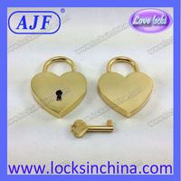 AJF gold zinc alloy Heart wishing wedding locks