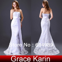 Free Shipping Grace Karin Beach Satin Lace Bridal wedding Dresses Gown CL2527