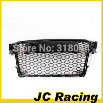 ABS black painted frame RS4 Grille auto car grill for Audi,  A4 B8 RS4 2008-2011 with parking sensor