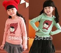 Free Shipping 5pcs/lot Kids girls KOREA design print T shirts kids clothes fashion flower T shirt spring long sleeve clothing