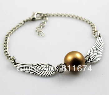 Min.order $10 (mix order) Harry potter Golden Snitch Bracelet, Silver Double sided wings