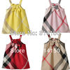 FREE SHIPPING----girl's bowknot dress children summer wear gallus dress girl pure cotton sundress with pretty plaid 1pcs d913