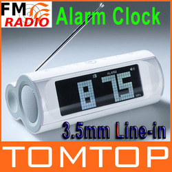 LCD Display FM Radio Speaker Alarm Clock 3.5mm Line-in White Music Player Free Shipping wholesale(China (Mainland))