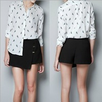 summer Style Collar Rivets Long Sleeve Parrot  chiffon Shirts Blouses ,