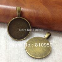 Promotion 100PCS inner:20mm Alloy/Metal Antique Bronze Blank Pendant Base Bezel Settings for Glass or Stickers