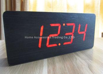 2014 new Modern Calendar Thermometer Wood Wooden LED Clock Alarm Clocks , Big numbers and digital clock desk clocks