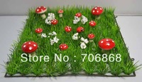 Artificial Plastic Grass Mat with red mushroom and white flower and ladybug  wedding party home garden decoration use