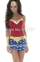 2014 Free shipping ML5203 Fancy Sexy Super Women Dress Golden Star Trimmed Native American Super Girl Sexy Superhero Costume
