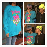 Women/ Men KPOP Korea BIGBANG Big Bang G Dragon GD Live Cartoon Dinosaur Sweater Hoody girl boy free shipping