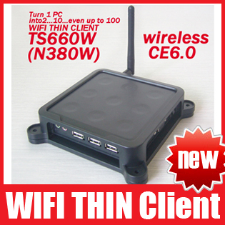 TS660W / N380W Wireless Win CE 6.0 OS Network Terminal Thin Client Net Computer Sharing Support Winows 7 /vista Free Shipping(China (Mainland))