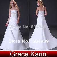 New 2015 Grace Karin Strapless Satin Bride Beach Wedding Dresses Bridal Gown CL3555