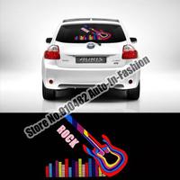 Free Shipping!40x30cm Guitar Fashion Music Design Activated car sticker equalizer glow LED light Flashing Car Music rhythm lamp